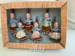 6 Poupées De Porcelaine Antiques Dans Googly La Boîte D'origine Kestner