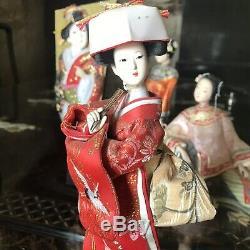 6 X Poupées Vintage Geisha Fille Japonaise Kimono Hagoita Pagaie Bisque En Porcelaine