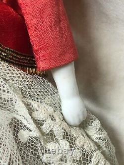 7.5 Antique Porcelaine Allemande Made China Doll Head & Limbs Flat Top #sa