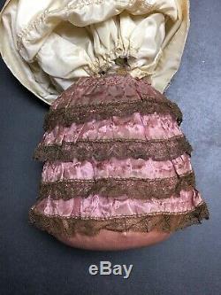 8 Allemand Antique Porcelaine Moitié 1/2 Poupée Cheveux Gris Kister Coussin Belle #s