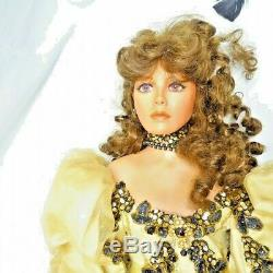 A21 Vintage 36 Rustie Artist Poupée En Porcelaine Dame Victorienne Robe Noire Et Or +