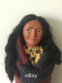 Amérindien De Antique Porcelaine Bois 1920 Femme Skookum Doll