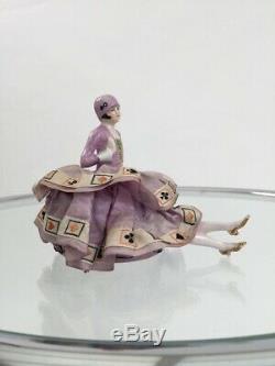 Années 1920, La Moitié Poupée Dame En Céramique Avec Des Cartes À Jouer Jupe Antique Cru Garçonne