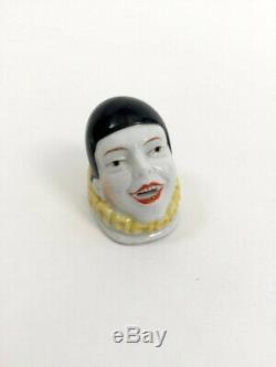 Années 1920 Poupée Tête De Clown Pierrot Moitié En Céramique Art Déco Vintage Antique