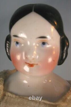 Antique 1850 Kister Covered Wagon Porcelain China Head Doll 12.5
