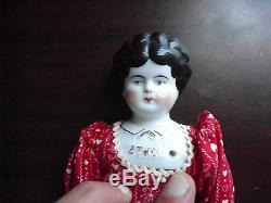 Antique 1880. Porcelaine Tissu Allemagne Ethel Fille Low Brow Personnage Doll 12 1/2