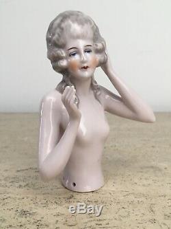 Antique 1900-1920'2 Marie-antoinette Porcelaine Moitié Poupées Lot De 3 2,5 À 4,5