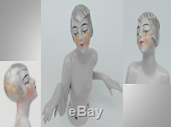 Antique Art Déco Porcelaine Pretty Lady Fancy Hair Style Pin Coussin Half Doll