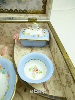 Antique Doll Française Service De Toilette Box Set Mirrored Vanity Wash Vintage