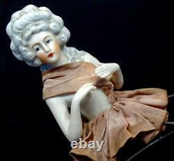 Antique German Porcelaine Bisque Half-doll Pour Lampe Ou Pin Cushion Allemagne