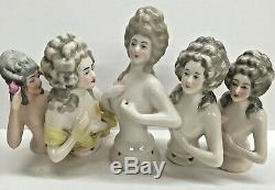 Antique Marie Antoinette Porcelaine Demi Dolls Lot De 5