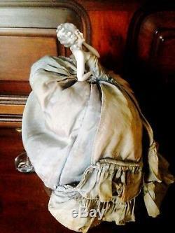 Antique Porcelaine Boudoir Poupée, Poupée Moitié, Mode En Robe Originale