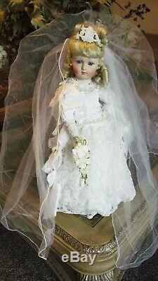 Antique Reproduction Visage Long Jumeau Porcelaine Mariée Patricia Loveless Doll Nouveau