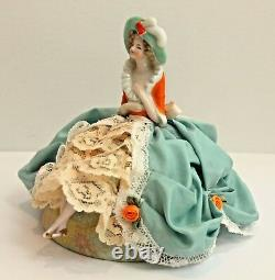 Antique Vintage Porcelaine Allemande Half Doll Pin Coussin Boudoir Doll With Legs