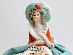 Antique Vintage Porcelaine Moitié Allemande Poupée Pin Coussin Boudoir Poupée Avec Jambes