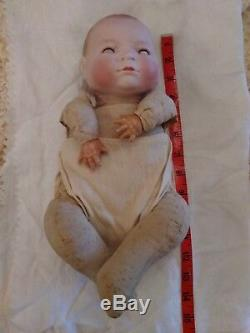 Antiquité Vintage Allemande Grace S. Putnam Bye Lo Bébé Poupée Bisque En Porcelaine