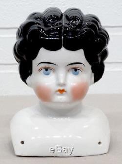 Antiquité Vintage Victorian Porcelain Beauty Large Tête De Poupée En Chine / Époque De La Guerre Civile