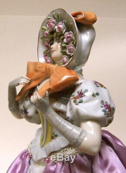 Arc En Pinceau Vintage En Porcelaine Allemande Demi-poupée Liquidation-rare Arc Énorme