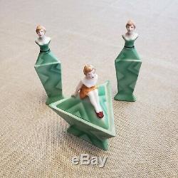 Art Déco Vintage Bavière China Doll Parfums & Set Poudre