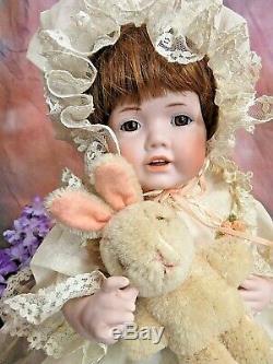 Artiste Vintage Signé Doll Toute La Biscuit En Porcelaine 12 Robe Main Victorienne