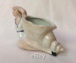 Baignoire Beauté Flapper Figurine Porcelaine Demi Poupée Pin Vase Pot Allemagne Vtg