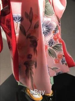 Beau Vintage Poupe De Porcelaine De Japonais En Verre Yeux De Soie Kimono Rose Geisha