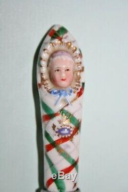 Bébé Antique Langes En Porcelaine Allemande Bouteille De Parfum / C1850s Cas Aiguille