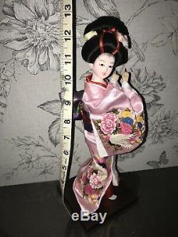 Belle Poupée De Porcelaine Japonaise Vintage Poupée Verre Yeux Soie Dansante Applaudissements