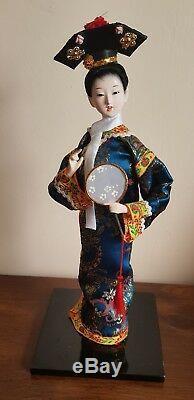 Belle Poupee Porcelaine Japonaise Vintage Verre Yeux Soie Bleu Kimono Geisha
