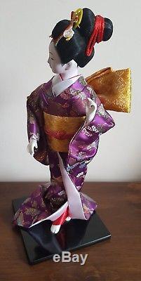 Belle Poupee Velours En Porcelaine De Japonais En Verre Yeux Soie Kimono Violet Geisha