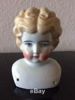 Belle Tête De Poupée Blonde En Porcelaine Vintage Et Épaules Marqués Allemagne # 6