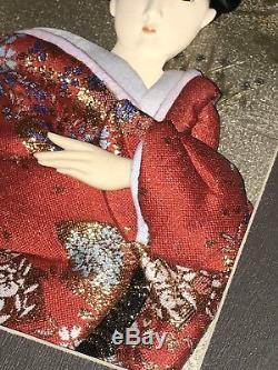 Belle Vintage Japonais Porcelaine Doll Glace Yeux Silk Figure Encadrée