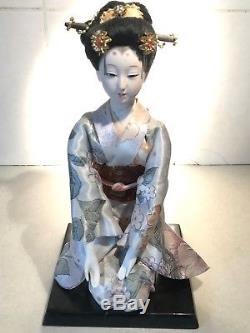 Belle Vintage Japonais Porcelaine Poupée Verre Yeux Kimono Soie Cheveux