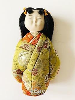 Brocart Japonais Vintage En Soie Avec Poupées En Porcelaine Pour Fillette