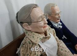 Couple De Poupées À La Main Vintage Grand-mère Et Grand-père, Vers 1990, William Wallace Jr