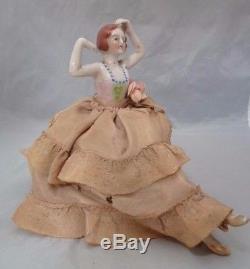 Coussin Vintage À Demi-poupée En Porcelaine. Fabriqué Au Japon. Environ 6,5 Grand