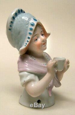 Demi Poupée En Porcelaine Allemande Vintage Avec Poupée Liquidation-fille Hollandaise Avec Tasse