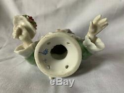 Demi Poupée Vintage Avec Bouquet De Fleurs En Porcelaine Dressel Kister