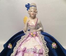 Demi-poupée Allemande En Porcelaine Avec Pieds, Robe En Velours
