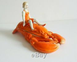 Demi-poupée Art Deco En Porcelaine Vintage Sur Bijou De Homard