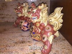 Deux Marqué Vintage Japonais Mori Kutani Porcelaine Dragon Lion Chiens-made In Japan