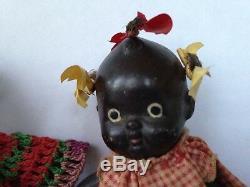 Deux Poupées Articulées Vintage En Porcelaine Noire Et Américaine 4 Avec Biscuit, Japon