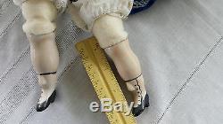Doll Chine Head & Épaule Et Limbs Corps Tissu 18 Robe Vintage Blue Velvet De Dentelle