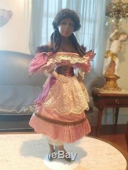 Doll Rare Vintage Noir Gypsy Avec Gitana Yeux Lavande Superbe