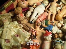 Énorme Lot Antique Vintage Petites Poupées Bisque HP Bendy Etc. Maison De Poupée Allemand Japon
