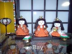 Ensemble Complet De 15 Poupées Japonaises Hina En Porcelaine Avec Accessoires