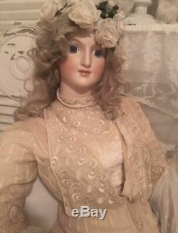 Fait À La Main Ooak Dame Grâce Bru Grandeur Nature Vêtements Victorienne Robe De Poupée Antique