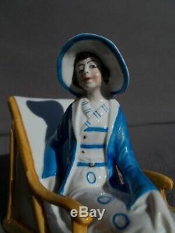 Femme Statuette Boite Art Déco Baigneuse En 30s Boîte Millésime Moitié Porcelaine Poupée
