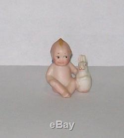 Figure Rare Vtg 1913 Rose O'neill Porcelaine Bisque Kewpie Figure W Lapin Blanc
