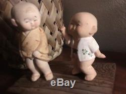 Garçon Poupées Figurines Porcelaine Bisque Gumps Hakata 5 & 6.5 Vintage 2 Japonais